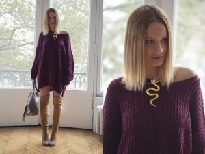 Pair Your Sweater With Chunky Jewelry Thigh High Boots